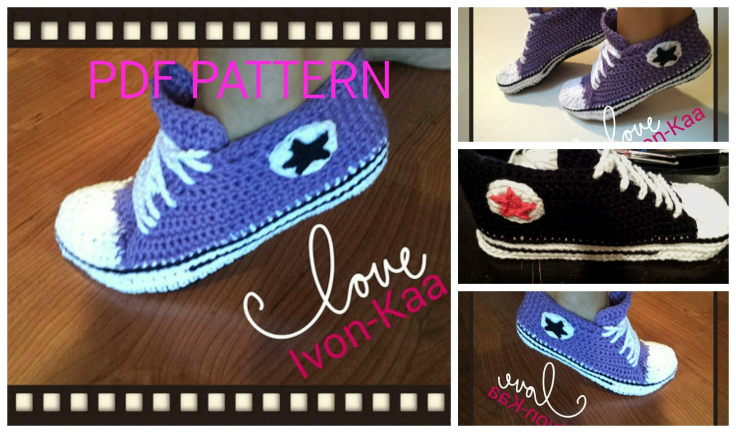 Crochet pattern WOMAN inspired by converse style shoes PDF