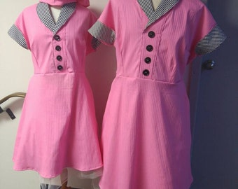Upcycled Steampunk Clothing I Love Lucy Chocolate Factory Costume, Lucille Ball, Lucy OR Ethel Pink Dress and Hat, Adult Size S, M, L