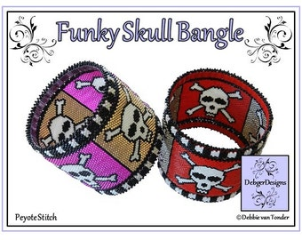 Beading Pattern, Tutorial, Bangle - FUNKY SKULL