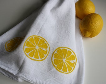 Lemon Kitchen towel hand screened Flour sack Towel Yellow