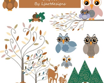 Sale 50% Off, Woodland Owls and Friends Clipart, woodland Clipart, Crafting, Scrapbook Supplies, animal, Trees, Deer, Owls, Acorns, Chipmunk
