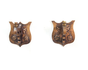 Pair of English Solid Copper Clad Art Nuvau Style Wall Sconces
