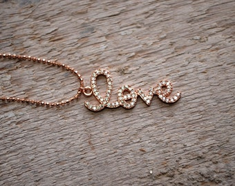 AAAA 92.5 Sterling Silver Rose Gold Love Charm Necklace/Charm Pendant/Charm Necklace/Christmas Gift/Wife/Sister(0146-148)