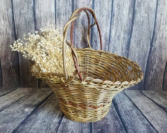 Vintage Natural Vine Basket | Rustic French Flower Basket