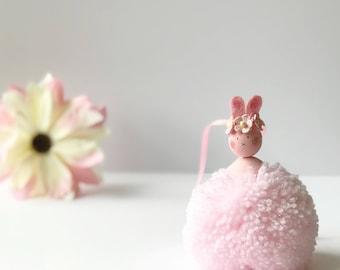 Pink Pom Pom Bunny, New Baby Gift, Christening Gift, Birthday Gift, Nursery Decor, Girls Room Decor, Girls Bedroom Decor, Baby shower