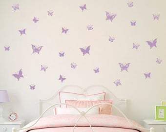 Butterfly Decal   Set Of 28 Butterflies Wall Decals   Girl Bedroom Decor    Girl Wall