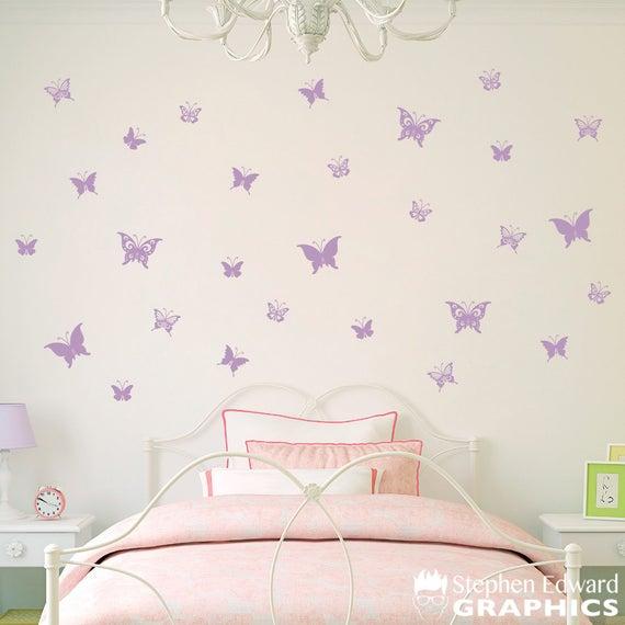 Butterfly Decal Set of 28 Butterflies Wall Decals Girl