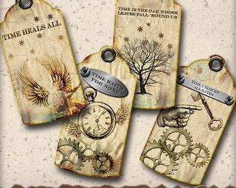 Steampunk Time Passing Printable Tags - Gift Tag Sheet - Digital Collage Sheet - Digital Scrapbooking Tag Journaling  Paper Craft
