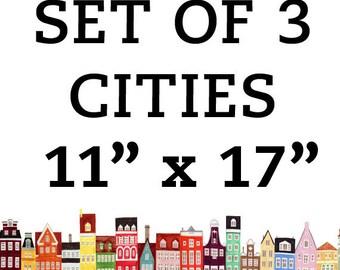 Cities 11 x 17 Set, Copenhagen, Stockholm, Amsterdam, Venice, Boston, San Francisco, Brooklyn, NYC