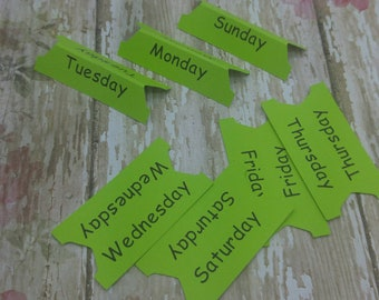 Lime green weekly planner tabs, days of the week, printed tabs, daily tabs, journaling, pre-planning labels