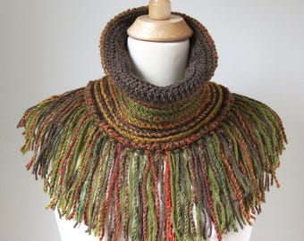 Crochet Neck Warmer, Boho Scarf with Fringe, Orange Brown Cowl, Woodland Colors, Earth Tones Fall Fashions, Unique Bohemian Clothing