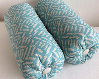 LAST PAIR - aqua on natural   bolster pillows 6x14