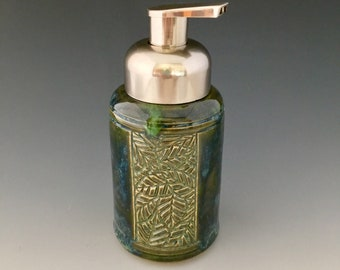 One of a Kind Handmade Carved Ceramic Pump Dispenser for Foaming Soap by NorthWind Pottery