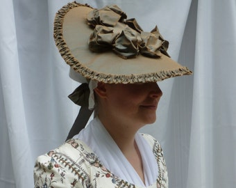 Custom Color Options! ~ 18th Century Changeable Silk Taffeta Covered Hat w/Self-Fabric Trim for Colonial Rev War Reenacting Costume (ACC-H1)