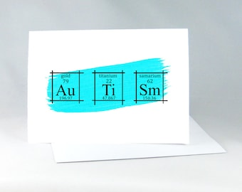 Autism Card, Periodic Table of the Elements, Science Elements Art, Chemistry Wall Art, Autism Gift Card, Chemistry Card, Science Nerds, 3004