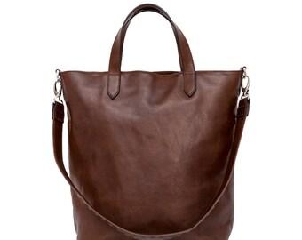 Greta - Top Zip Brown Leather Tote Bag, Dark Brown Leather Tote, Brown Leather Tote Bag, large bag, every day use tote bag