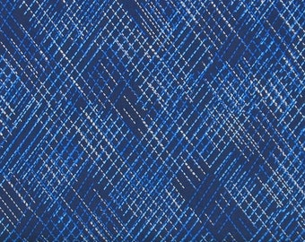 Blue and White Dashed Diagonal Lines on Navy Blue 100% Cotton Quilt Fabric, Shimmer Dash by Greta Lynn for Kanvas Studio, KAS8809P-55