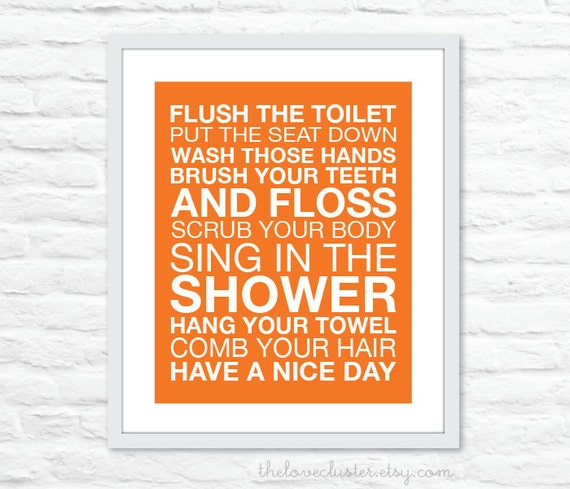 Bathroom Rules Wall Art Print - Modern - Tangerine Orange and White