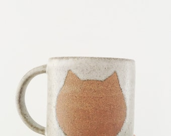Ceramic Cat Coffee Mug - Handmade - limited edition rustic pottery coffee cup - one of a kind