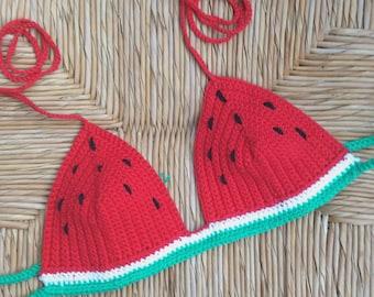 SALE!!! Watermelon crochet bikini halter Festival top - 100%cotton