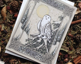 Snowy Owl Card : 1 Hand - Embellished Card - Hedwig - Harry Potter - Snowbird - Birthday Card - Blank Card