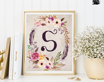 MONOGRAM PRINTABLE ART. Nursery  Letter Art Print. Boho Floral Nursery Wall Art. Girls Room Decor. Initial Custom Wall Decor. Laurel. FLO2