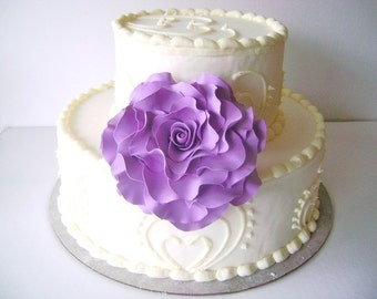 Purple Rose Cake Flower Cake Topper Wedding Floral Decoration Handmade Cake Topper Clay Flowers Made to Order
