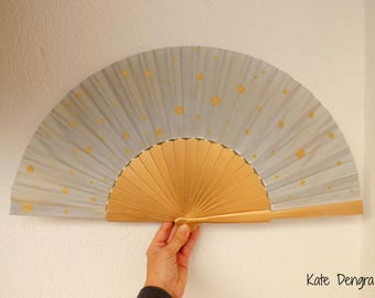 Gold and Silver Supersize Pericon with Gold Polka Dots Modern Traditional Hand Fan by Kate Dengra