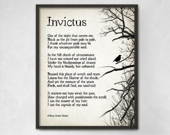Invictus Poem by William Ernest Henley Typography Print - Inspirational  Poster - Student Wall Poster -