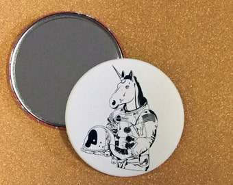 3.5 Inch Roller Skating Unicorn Astronaut Mirror - Roller Derby, Unicorn Mirror, Compact Mirror, Pocket Mirror, Hand Mirror