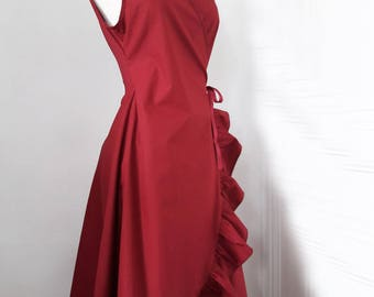 summer day dress in Burgundy broadcloth