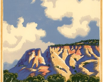 Clouds and Bluff, 6 block woodcut, signed edition of 30.