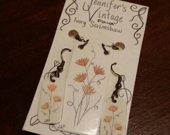 Scrimshaw Jewelry Set Lovely Yellow Orange Flowers OOAK Great Gift Idea