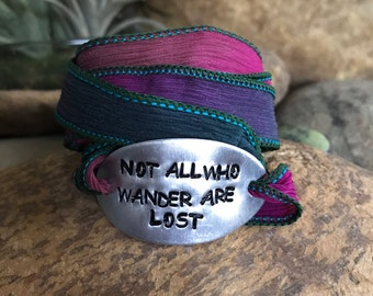 Not all who wander are lost silk wrap bracelet, traveler jewelry, wanderlust, mantra bracelet, customized, quote jewelry, traveller