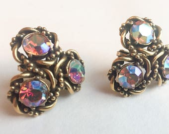 1960s Coro Aurora Borealis Earrings with Antiqued Gold Plating