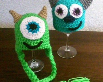 Mike and Sully crochet hat set, monsters inc, crochet disney
