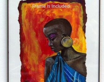 African art. Art on Linen Canvas Sheet, figurative art, African woman, Ethnic art, Black art, Acrylic art, Original Painting, wall art