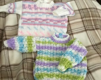 2 new prem baby's/dolls  hand knitted white/pastels/shaded yarn jumpers 16 inch chest