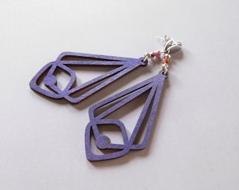 Violet Wood Earrings : Beaded Laser Cut Dangles