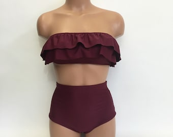 Ruffle bandeau high waist bathing suit MORE COLORS