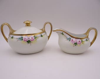 1880s Hand Painted Vintage Bavarian ZSC Zeh Scherzer & Co Pink Rose Creamer and Sugar Bowl  - Charming