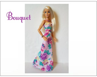 Barbie Fashionistas Doll Clothes - BOUQUET Lavender Gown and Jewelry Set - Handmade Fashion by dolls4emma
