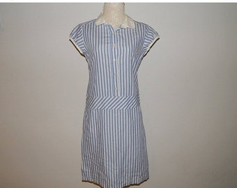 50% On May 80s Blue Striped Shirtwaist Day Dress Size 8 Bust 34