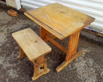 Childs Desk rustic Oak adjustable vintage desk old school house desk