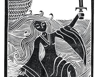 "Lady of the Lake Linocut 7x5"" (Unframed)"