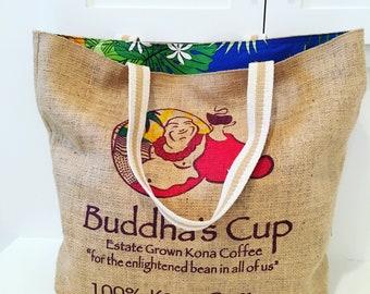 Buddha's Cup Coffee Sack Tote/ Beach Bag/ Market Tote