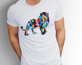 Lion T-shirt, Lion T shirt for men, Lion shirt, King Lion T-shirts, Animal T-shirts, Lion gift, Mens T-shirts, Colorful shirt lion tees