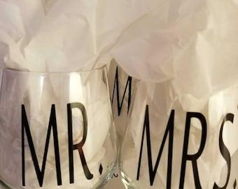Mr. and Mrs. Stemless Wine Glasses