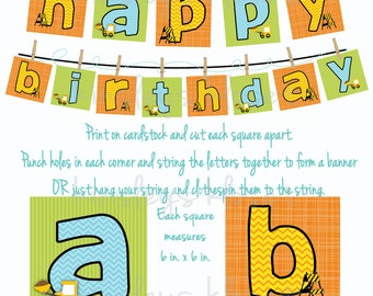 Printable Party Banner - Construction Party Banner - Dump truck Construction Party Printables