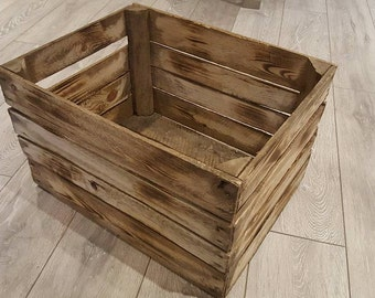 1 x Burntwood Vintage Rustic European Wooden Apple Crates, ideal storage boxes box display crate bookshelf idea